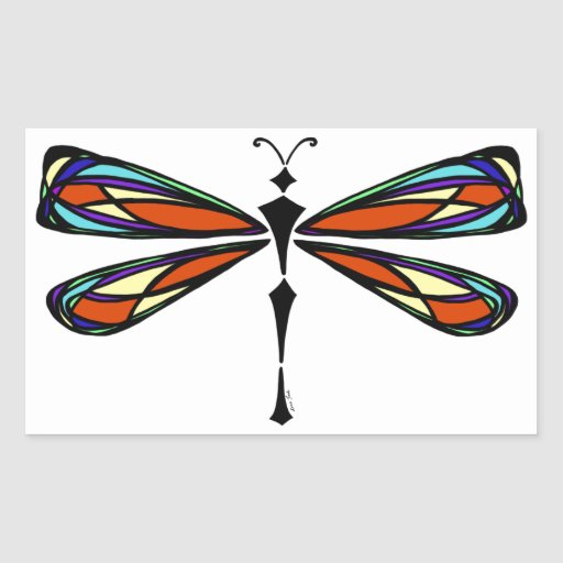 Stained Glass Dragonfly Rectangle Sticker