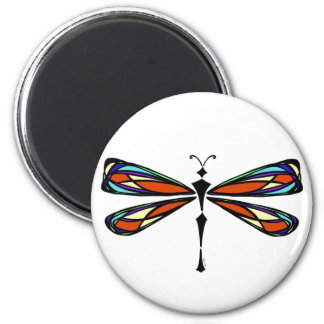 Stained Glass Dragonfly Round Magnet Magnet