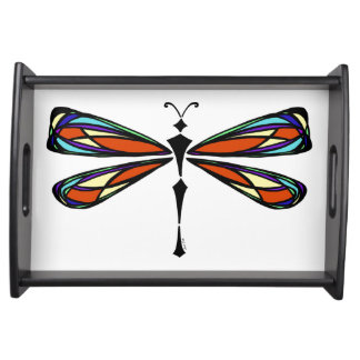 Stained Glass Dragonfly Serving Tray