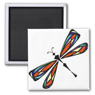 Stained Glass Dragonfly Square Magnet Magnets