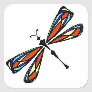 Stained Glass Dragonfly Square Sticker