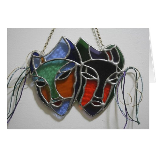 Stained Glass Drama Mask Card