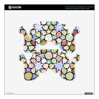 Stained Glass Earthy Hues Stars Pattern PS3 Controller Skins