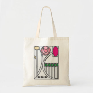 Stained Glass Effect Art Nouveau Roses Design Budget Tote Bag