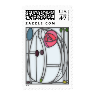 Stained Glass Effect Art Nouveau Roses Design Postage