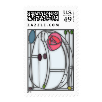 Stained Glass Effect Art Nouveau Roses Design Postage Stamp