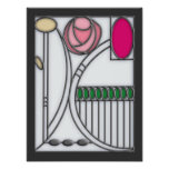 Stained Glass Effect Art Nouveau Roses Design Poster
