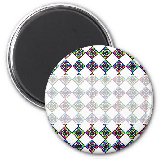 Stained Glass Effect Floral Pattern. 2 Inch Round Magnet