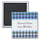 Stained Glass Effect Floral Pattern. 2 Inch Square Magnet