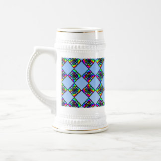 Stained Glass Effect Floral Pattern. 18 Oz Beer Stein