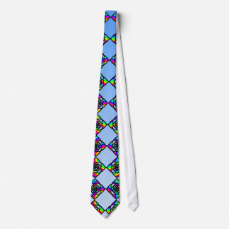 Stained Glass Effect Floral Pattern. Neck Tie