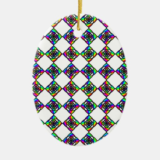 Stained Glass Effect Floral Pattern. Christmas Ornaments