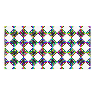 Stained Glass Effect Floral Pattern. Custom Photo Card