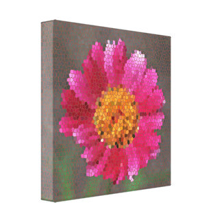 Stained Glass Effect Flower Canvas Print