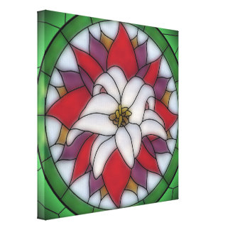 Stained Glass Effect - Lotus Flower Canvas Print