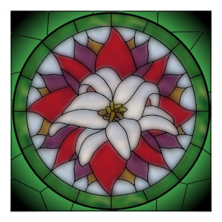 Stained Glass Effect - Lotus Flower Poster