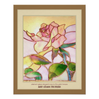 Stained glass elegant rose Wall interior art print