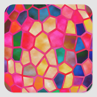 Stained Glass Embossed Ball Square Sticker