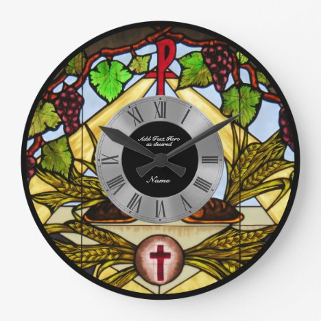 Stained Glass Eucharist Personalized Roman Numbers Large Clock