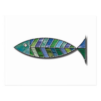 Stained Glass Fish Postcard
