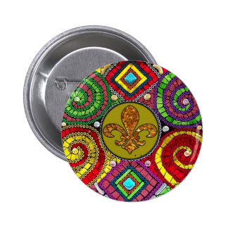 Stained Glass Fleur De Lis Abstract 2 Inch Round Button
