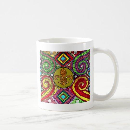 Stained Glass Fleur De Lis Abstract Coffee Mug