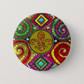 Stained Glass Fleur De Lis Abstract Pinback Button