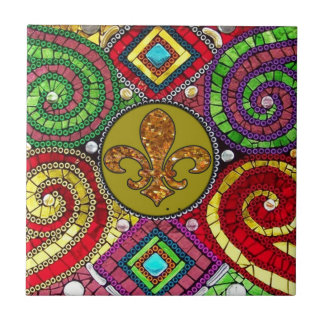 Stained Glass Fleur De Lis Abstract Tile