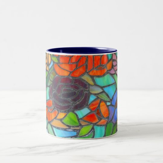 Stained Glass Floral Coffee Mug