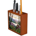 Stained Glass Floral Desk Organizer