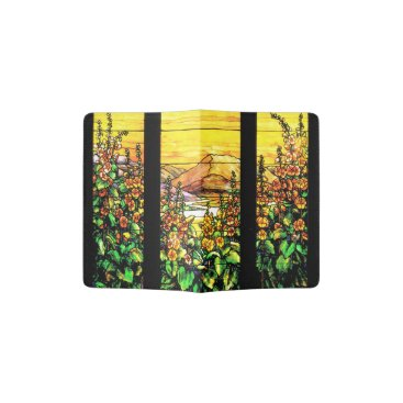 McTiffany Tiffany Aqua Stained Glass Floral Passport Holder