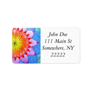 Stained Glass Floral Sketch Address Label