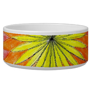 Stained Glass Floral Sketch Pet Bowl