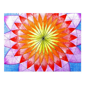 Stained Glass Floral Sketch Postcard