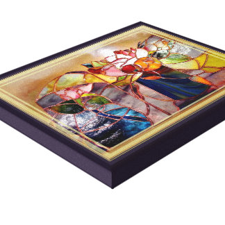 Stained Glass Flower Arrange Design Canvas Print