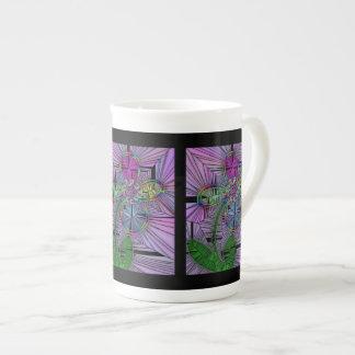 Stained Glass Flower Bone China Mug