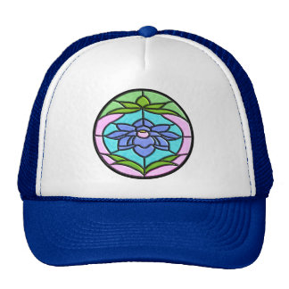 STAINED GLASS FLOWER by SHARON SHARPE Mesh Hat