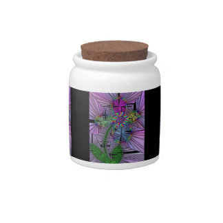 Stained Glass Flower Candy/Sugar Jar Candy Dishes