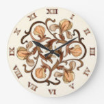 Stained Glass Flower Design - Round Clock 1B