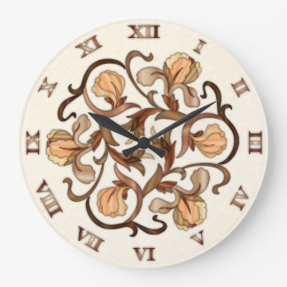 Stained Glass Flower Design - Round Clock 1B