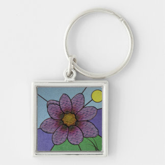 Stained Glass Flower Keychain