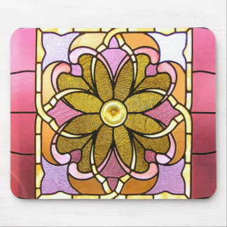 Stained Glass Flower Mouse Pad