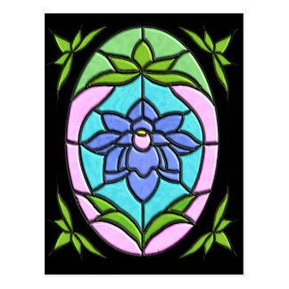 STAINED GLASS FLOWER OVAL by SHARON SHARPE Postcard