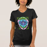STAINED GLASS FLOWER OVAL by SHARON SHARPE T-Shirt
