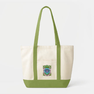 STAINED GLASS FLOWER OVAL by SHARON SHARPE Tote Bag