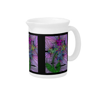 Stained Glass Flower Pitcher