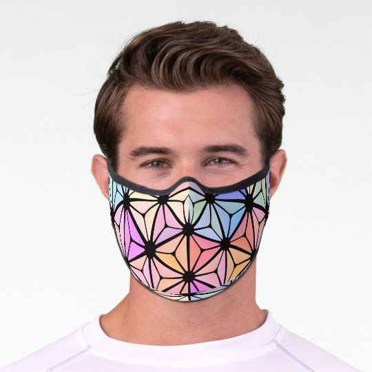 Stained-glass flower premium face mask