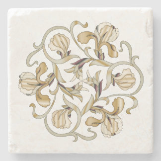 Stained Glass Flowers 3 - Marble Coaster