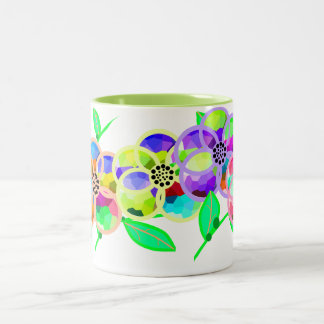 Stained Glass Flowers - Green Two-Tone Coffee Mug