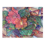 """""""Stained Glass"""" Flowers Postcard"""
